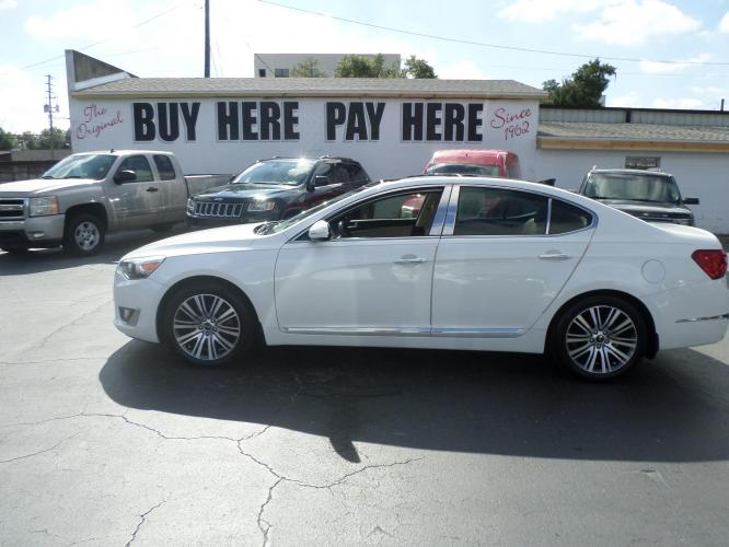 2014 White Kia Cadenza Sedan (KNALN4D76E5) with an 3.3L V6 DOHC 24V engine, 6-Speed Automatic transmission, located at 6112 N Florida Avenue, Tampa, FL, 33604, (888) 521-5131, 27.954929, -82.459534 - Photo #0